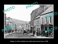OLD LARGE HISTORIC PHOTO OF DINGLE Co KERRY IRELAND, MAIN ST & STORES c1900