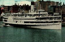 Circa 1910 The Greyhound Steamer Downtown Maumee River, Toledo, Ohio Postcard P4