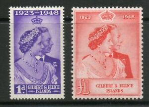 GILBERT & ELLICE ISLANDS 1948 GEORGE VI SILVER WEDDING PAIR MOUNTED MINT