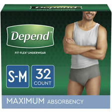 Depend FIT-FLEX Incontinence Underwear for Men, Small/Medium, Gray - 32 Count