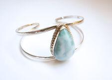 Sterling Silver Blue Larimar Large Teardrop-shape 2-line Flexible Cuff Bracelet