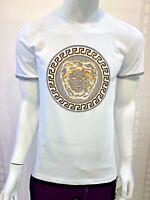 New Mens Short Sleeve Very Slim Fit T-Shirt White Gold Medusa Rhinestones Cotton