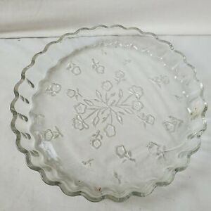 Anchor Hocking Glass Serving Platter 10 In. Etched Flowers