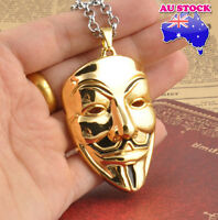 V for Vendetta ANONYMOUS Mask Gold Tone Metal Pendant Necklace