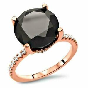 6ct Round Black Diamond Hidden Halo Solitaire Engagement Ring 14K Rose Gold Over