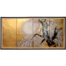 Japanese Style Gold Leaf Folding Wall Screen Asian Art Home Decor Sakura Blossom