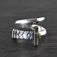Solid 925 Sterling Silver Mens Sword Ring Open Adjustable Size