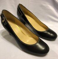 Ralph Lauren Salma Women Black Leather Round Toe Pumps 9.5B