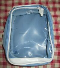 VINTAGE LIGHT BLUE & WHITE EMPTY CLARINS WASH / MAKEUP BAG WITH ZIP