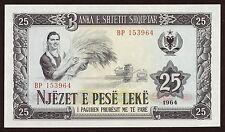Albania 25 leke Paper Money, Banknote of 1964. UNC