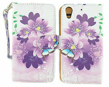 Blue & Purple Flower Design Wallet Leather Case for HTC Desire 626 626S