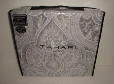 Tahari Medallion Floral Full Queen Duvet Cover Shams Set Gray Silver Taupe White