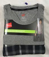 Hanes Men's Long Sleeve Crew & Flannel Pant Pajama Set Black Grey Plaid Size 2XL