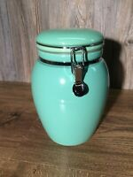 Vintage Large Glazed Pottery Urn Jar With Locking Bail Top Kitchen Chef D2