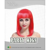 LADIES RED LONG BOB WIG Fancy Dress Cos Play Party Wear NEW