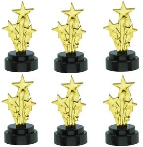 6 Small Gold Shooting Star Trophy Awards Hollywood Theme Party Prom Decorations