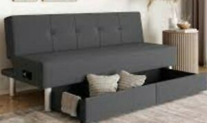 Convertible Sleeper Sofa Bed Couch Pull out Futon with USB, Power & Storage