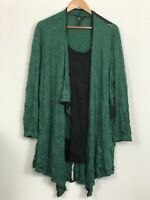 TS TAKING SHAPE Womens Green Black Woven Zippers Long Sleeve Top Plus Size L