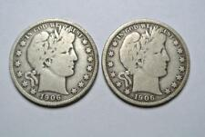 1906 & 1906-D Barber Half Dollars, VG Condition  - C4614