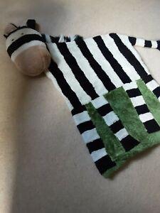 Childs/Kids Jellycat Black/White/Green Striped Zebra Floor Rug with Cushion Head