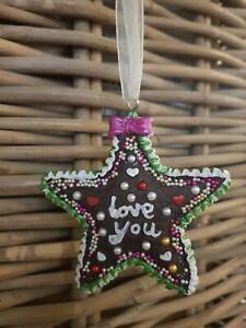 Gift Company  X Mas 2 x Weihnachten Anhänger Lebkuchen  NEU