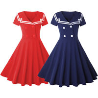 Womens Vintage Rockabilly 50s Sailor Short Sleeve Party Cocktail Swing Tea Dress