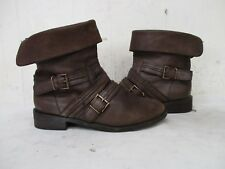 Joie Brown Leather Biker Moto Ankle Boots Womens Size 36 EUR