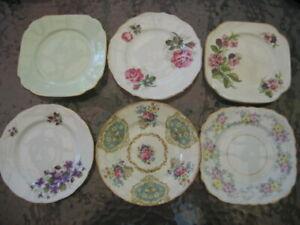6 VINTAGE ENGLISH SIDE PLATES - QUEEN ANNE, COLCLOUGH, JAMES KENT, CROWN SUSSEX