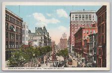 Cincinnati Ohio~Fountain Square~Gillette Safety Razor Ad~1920s Postcard
