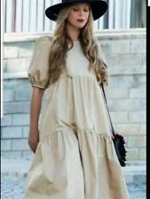 BNWT Zara Camel Cotton Poplin Oversized Midi Dress