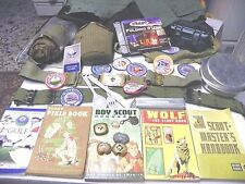 Boy Scout and Cub Scout Lot, Books, Belts, gear  and Patches
