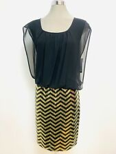 GUESS NWT Exquisite BLACK/GOLD Sequin Chiffon top Cocktail Dress, size 12