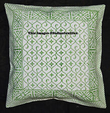 """Traditional Block Print 16x16"""" Cushion Cover Ethnic Cotton Sofa Pillow Cover New"""