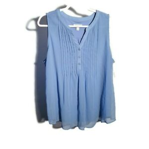 Charter Club NEW Size XL Blue Sleeveless V Neck Casual Blouse Tank Top Shirt NWT