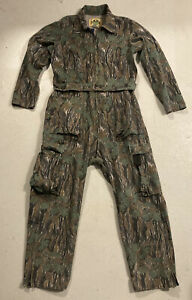 Vtg Camo Coveralls Hunting Ideal Flannel Tree Bark Tiger Stripe Cargo Mens Sz L