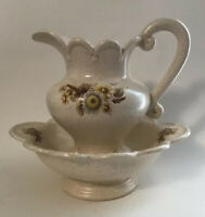 Vintage Pitcher Wash Basin Set Ivory Tan Speckled Painted Daisy Pottery Floral