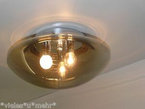HILLEBRAND Flush Mount, wall/ ceiling, grey smoked glass, 3 bulbs, 1970's