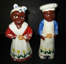 "Antique Original ""Mammy ""Aunt Jemima and uncle Mose salt & pepper shakers 8"""