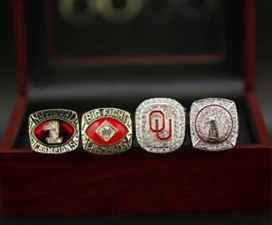 4pcs Oklahoma Sooners National Championship Ring Set With Wooden Box Fan Gift