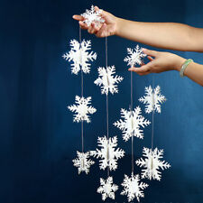 Christmas Garland White Paper Snowflakes Pendant Wedding Xmas Hanging Home Decor
