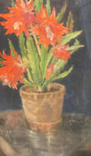 Antique impressionist still life with flower pastel painting