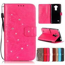 Strap Bling Embossing Flower Leather Wallet Flip Case Stand Cover For LG Phones