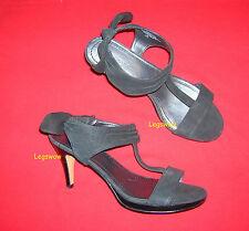 "Nine West Black Suede Leather Shoe 3.5"" Heel Bow Slingback T Strap Womens 10 New"