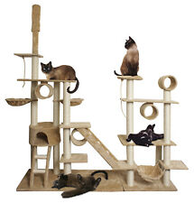 "96"" Tan White Cat Tree Play House Gym Tower Condo Scratch Post Rope Basket Swing"