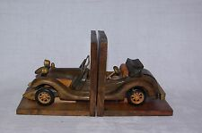 Retro Wood Bookends Modelled as Vintage Sports Car