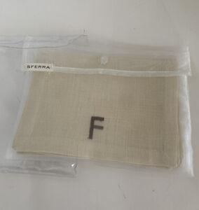 "SFERRA Set of 4 - 6""x9' Cocktail Napkins F Monogram Natural Tan Beige Pure Linen"