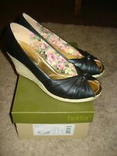 Hotter Chloe Black Leather Wedge Heels ~Size 7 Std~ Worn Once / Boxed~