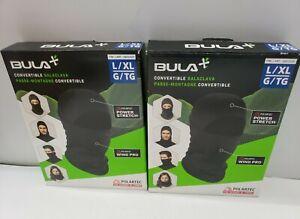 2 Pack Bula Convertible Balaclava Face - Black- Size L/XL