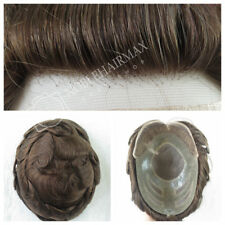 Mens Hairpiece Mono & French Lace Front Toupee Human Hair Replacement System #4