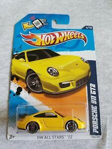 2012 Hot Wheels PORSCHE 911 GT2 Yellow 124/247 EXCELLENT CARD All Stars WALMART